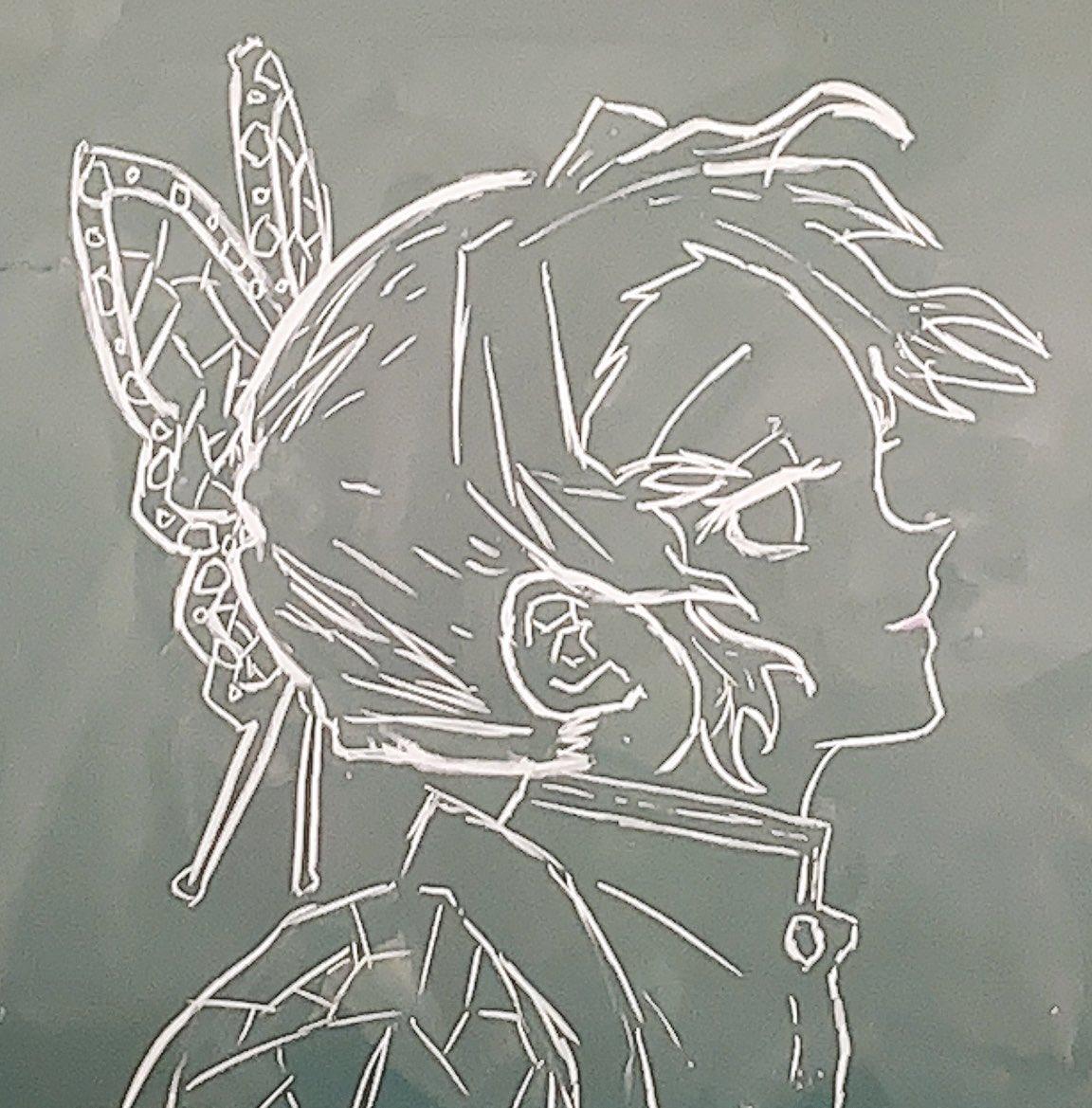 鬼滅の刃の黒板アート(キャラクター個別):胡蝶しのぶ(蟲柱)