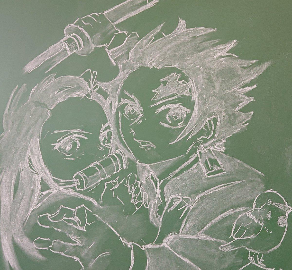 鬼滅の刃の黒板アート(キャラコラボ):竈門炭治郎、竈門禰豆子